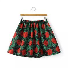 Women sweet flower print ball gown skirts faldas elastic waistband vintage floral casual streetwear retro skirts