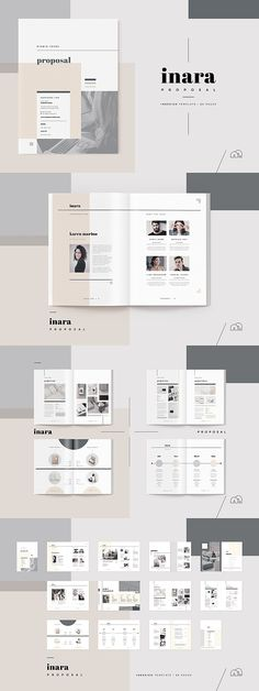 Proposal - Inara --- When you need to make a great first impression, a modern and elegant template like 'Inara' has you covered. A complete business proposal Leaflet Layout, Leaflet Design, Brochure Layout, Brochure Design, Indesign Templates, Brochure Template, Adobe Indesign, Web Design, Layout Design
