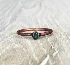 Emerald and Copper Ring | Bohemian Gypsy Jewelry | Boho Festival Jewellery | Hippie Fashion Style | Indie and Harper