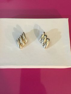 Silver Tone Clip on Flames Earrings by Christian Dior