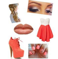 Sweet heart dress Combat heels Cheetah pink nails Peach lips Smokey eye  Bow side pony tail