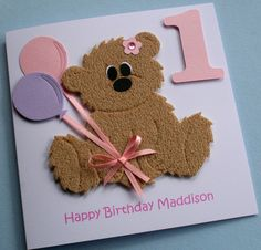 Hand made kids birthday cards | ... handmade personalised childrens teddy bear card the teddy is handmade