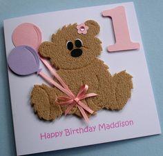 Hand made kids birthday cards | ... handmade personalised childrens teddy bear card the teddy is handmade