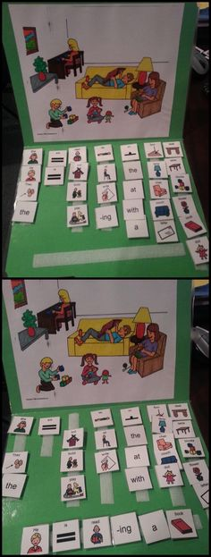Target: Simple sentence construction. Print a picture scene and glue onto the top half of a file folder. Laminate and add velcro strips to the bottom half. Print and laminate various word tiles/pictures to describe the actions in the picture. Students can work on pronouns, verbs, prepositions, and more!