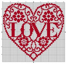Free cross stitch pattern for Valentine's. 79 x 75 stitches. Use a nice bright… Free cross stitch pattern for Valentine's. 79 x 75 stitches. Use a nice bright red or variegated thread, stitch on any count. Cross Stitch Pattern Maker, Easy Cross Stitch Patterns, Cross Stitch Heart, Simple Cross Stitch, Cross Stitch Alphabet, Cross Stitch Designs, Cross Stitching, Cross Stitch Embroidery, Embroidery Patterns