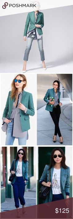 J. Crew Regent Blazer in Linen Feminine and fitted. Linen. Standing collar. Functional buttons at cuffs. Flap pockets. Lined. Excellent pre-worn condition. Offers welcome through offer tab. No trades. 10613161801 J. Crew Jackets & Coats Blazers