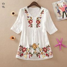 New 2016 summer embroidery style women clothes cotton shirts plus size casual blusas femininas shirt blouses Vintage Embroidery, Embroidery Dress, Embroidery Designs, Crewel Embroidery, Japanese Embroidery, Embroidery Kits, Casual Tops For Women, Blouses For Women, Hippie Outfits