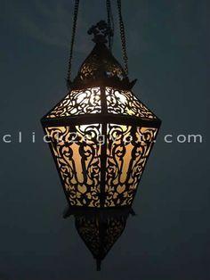 Large Islamic / Arabian Art Antique Style Brass Lamp / Lantern