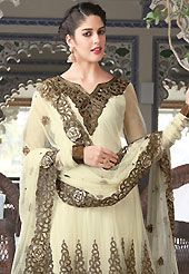 Style and trend will be at the peak of your beauty when you adorn this suit. The dazzling cream churidar suit have amazing embroidery patch work is done with resham and zari work. Beautiful embroidery work on kameez is stunning. The entire ensemble makes an excellent wear. Matching santoon churidar and chiffon dupatta is available with this suit. Slight Color variations are possible due to differing screen and photograph resolutions.