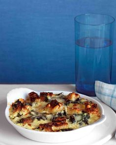 Spinach and Cheddar Strata, can be assembled the night before and just popped in the oven in the morning