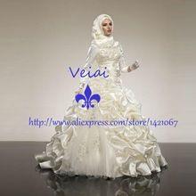 2016 árabe Muçulmano Robe De Mariee Branco Marfim Ball Vestido Ruffles Vestidos De Casamento Hijab Frisado Kaftan Dubai vestido de Noiva RA806(China (Mainland))