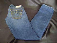 True Religion Billy Skinny Leg Stretch Denim Blue Jeans Womens 25 X 31 USA #TrueReligion #SlimSkinny