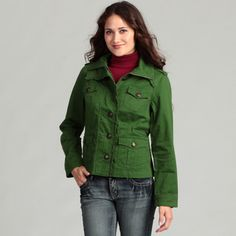 @Overstock - This women's military jacket by Live a Little brings style to any outfit. Made from mix of cotton and spandex, this jacket is machine washable and features a ruffle trim, providing a feminine touch to this very military-style piece of clothing.http://www.overstock.com/Clothing-Shoes/Live-a-Little-Womens-Ruffle-Trim-Military-Jacket/6980702/product.html?CID=214117 $38.99
