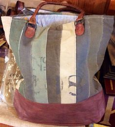 "No. 208 - Reclaimed Canvas Tote Bag 17"" W x 17"" H x 4"" D with 10"" Handle Drop                                                                                                                                                     More"