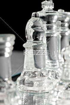 transparent  chess pieces - Portrait of transparent chess pieces close up