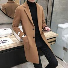 Ebay.com | Men's Slim Fit Trench Coat Wool Blend Long Style Chic Outwear Jacket Overcoat