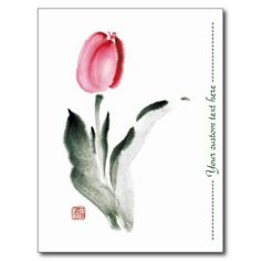 SOLD! - Classic oriental chinese sumi-e ink flower tulip post card