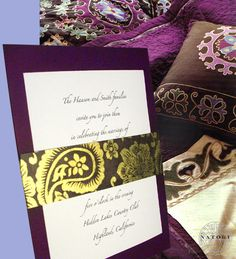 purple wedding invitations - these would be easy to buy purple backing but still print on white!  And change the band's color to blue instead of gold