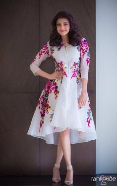 Kajal Agarwal Off White Georgette Party Wear Kurti - Sale Frock Fashion, Indian Fashion Dresses, Indian Bridal Outfits, Girls Fashion Clothes, Western Dresses For Girl, Stylish Dresses For Girls, Stylish Dress Designs, Frocks For Teenager, Frocks For Girls