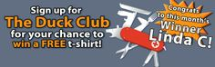 Congrats to our June free t-shirt Winner, Linda C. Sign up for #TheDuckClub for a chance, at Duckco.com/contest