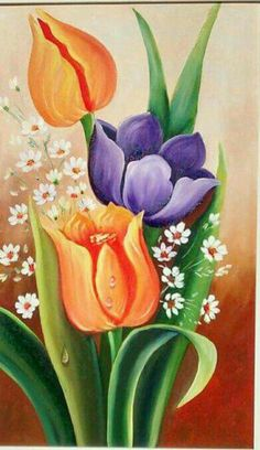 24 Wallpapers To Style Your New Gold iPhone Xs wallpaper iphonewallpaper flowers Tulip Painting, Fabric Painting, Oil Painting On Canvas, Watercolor Paintings, Art Paintings, Canvas Art, Gouache Painting, Flower Art Drawing, Fabric Paint Designs