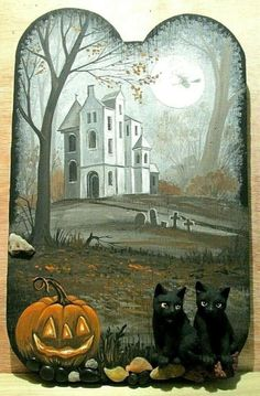 Vintage Halloween Cards, Retro Halloween, Halloween Items, Holidays Halloween, Spooky Halloween, Halloween Crafts, Halloween Decorations, Halloween Artwork, Halloween Painting