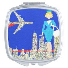 Retro Flight Attendant Compact Mirror--#beauty #makeup #mirrors #compacts #retro #airplanes #maps #travel #Zazzle