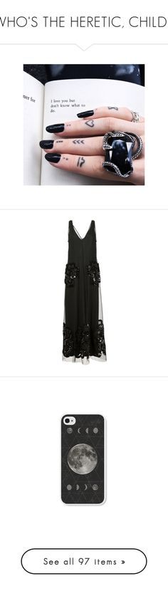 """""""WHO'S THE HERETIC, CHILD?"""" by nekomancer ❤ liked on Polyvore featuring tattoos, dresses, gowns, black, long dress, long silk gown, sequin gown, silk evening gowns, v neck sequin dress and long silk dress"""