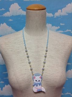 Whimsical Cat Necklace in Sax from Angelic Pretty - Lolita Desu