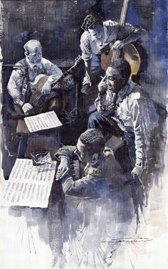 Charlie Parker, Lennie Tristano, Billy Bauer & Eddie Safrane, NY 1949. watercolor by Yuriy Shevchuk