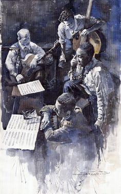 Charlie Parker, Lennie Tristano, Billy Bauer & Eddie Safrane, NY 1949. watercolor by Yuriy Shevchuk