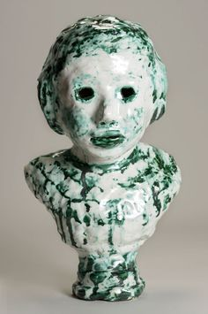 Majolica and Copper Portrait Bust with Window Eyes | Elise Siegel