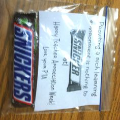 Teacher Appreciation Week!    Would be so cute with a different candy bar and saying each day.