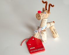 Wine Cork Reindeer, Wine Cork Crafts, Rudolf, Reindeer Decor, Christmas Ornament, Christmas Gift Idea by MaxplanationPhotos on Etsy