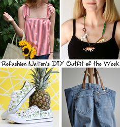 Beat the heat with these quick and quirky refashions this weekend! Refashioned Button Up Shirt– DIY Animal Necklace–Sneaker Update– Upcycled Denim Bag – Share your version of this DIY outf…