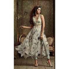 Off White Net Indian Anarkali Suits With Dupatta