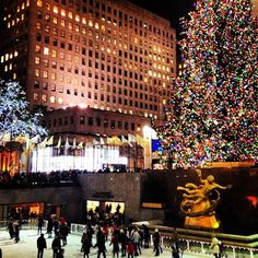 Rockefeller Plaza in NYC during the holidays.