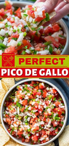Pico de Gallo is a homemade salsa made with chopped tomatoes, onion, jalapenos, cilantro, green onions, garlic, and freshly squeezed lime juice. This easy appetizer for dinner is a great and easy summer recipe! Easy Homemade Recipes, Homemade Salsa, Fun Recipes, Healthy Salad Recipes, Sauce Recipes, Summer Recipes, Mexican Food Recipes, Keto Recipes, Ethnic Recipes