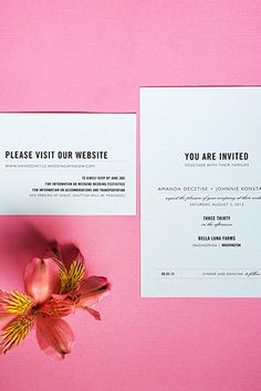 We're Gushing Over This Seattle Wedding's So-Chic Decor #refinery29  http://www.refinery29.com/martha-stewart-weddings/5#slide1  Elum Designs created the simple invitations, which included a card directing guests to the couple's wedding website for more information on the weekend's events and to RSVP.
