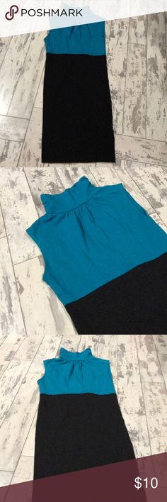 Keyhole back mock neck dress 5/$25 Blue and black mock neck dress size small with keyhole back. In excellent condition. No stains, rips or tears Dresses Mini