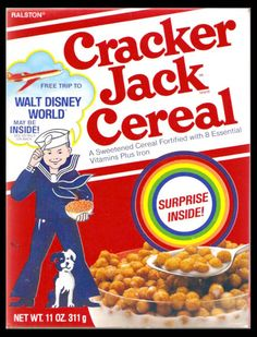 CC_Cracker Jack cereal box design from 1984 – via Gregg Koenig New Cereal, Kids Cereal, Cereal Boxes, Retro Recipes, Vintage Recipes, Discontinued Food, Types Of Cereal, Cornflakes, Penny Candy