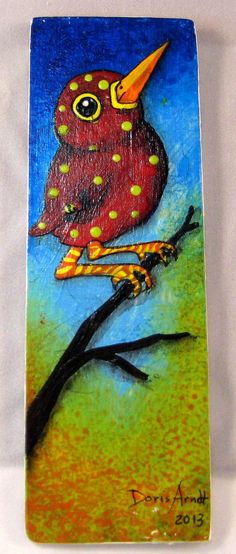 Red Whimsical Bird on Branch by PhantomWhispers on Etsy, $45.00: