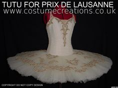 IVORY AND GOLD TUTU made for Prix De Lausanne  by professional dance costume maker Monica Newell www.costumecreations.co.uk