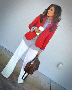 Professional: red blazer, patterned shirt and white pants