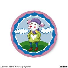 Colorido Ratón. Mouse. Producto disponible en tienda Zazzle. Product available in Zazzle store. Regalos, Gifts. Link to product: http://www.zazzle.com/colorido_raton_mouse_classic_round_sticker-217276344214851151?CMPN=shareicon&lang=en&social=true&rf=238167879144476949 #sticker #ratón #mouse
