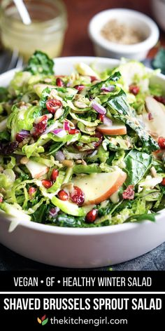 Festive AND healthy! Brussels sprout salad is superfood LOADED sweet and savory and has tons of texture in every bite! Festive AND healthy! Brussels sprout salad is superfood LOADED sweet and savory and has tons of texture in every bite! Pasta Salad Recipes, Healthy Salad Recipes, Vegetarian Recipes, Best Vegan Salads, Great Salad Recipes, Winter Salad Recipes, Superfood Recipes, Easy Recipes, Whole Foods
