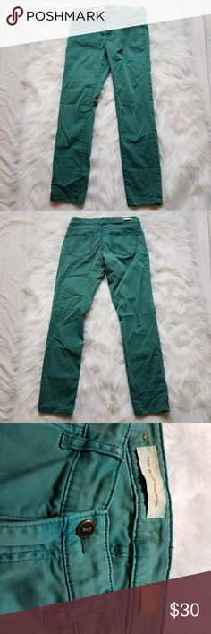 Anthropologie pilcro and the letterpress stet jean Anthropologie brand pilcro and the letterpress stet sateen jeans in green, actual color is more teal, size 28 rise 8 inseam 28 Anthropologie Jeans Skinny