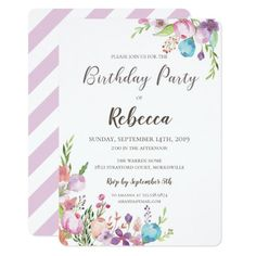 Floral Birthday Party Invitation, with pretty and adorable watercolor floral graphics in vintage and boho style by Amistyle Art on Zazzle
