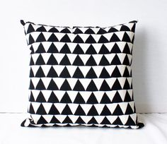 "Mountains of Montana - black and natural triangle repeat pattern organic screenprinted pillow 20""x20"""