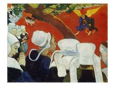 Vision At The Sermon By Paul Gauguin - Famous Art - Handmade Oil Painting On Canvas Paul Gauguin, Georges Seurat, Most Famous Paintings, Famous Art, Marc Chagall Artwork, National Gallery, Hieronymus Bosch, Impressionist Artists, Art Story